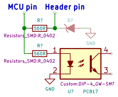 How the ATmega328P pins connect to the optocouplers and header. TVS diodes optional.
