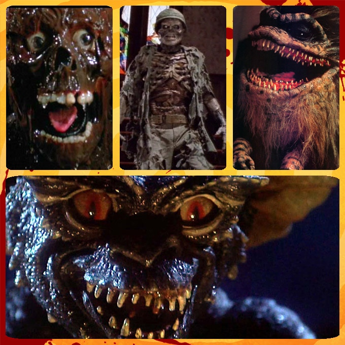 Above are some of my favorite 'Creature Features' from the 1980's that have just as many laughs as scares (Clockwise: Return of the Living Dead, House, Critters, Gremlins)