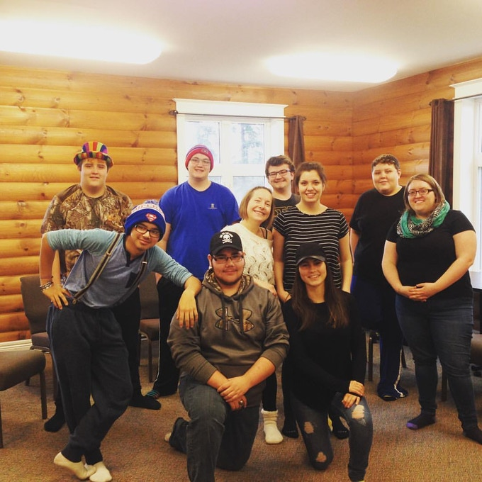 With one of the awesome high school classes that I was privileged to lead a workshop with in Goose Bay, NL for the Labrador Creative Arts Festival in November, 2016.