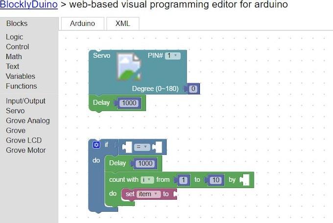 Screenshot of BlocklyDuino Web Interface