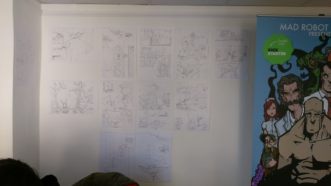 Pencilled art on the wall of the Mad Robot Comics Studio. We have a studio. It's where all the drinking.....er work gets done.