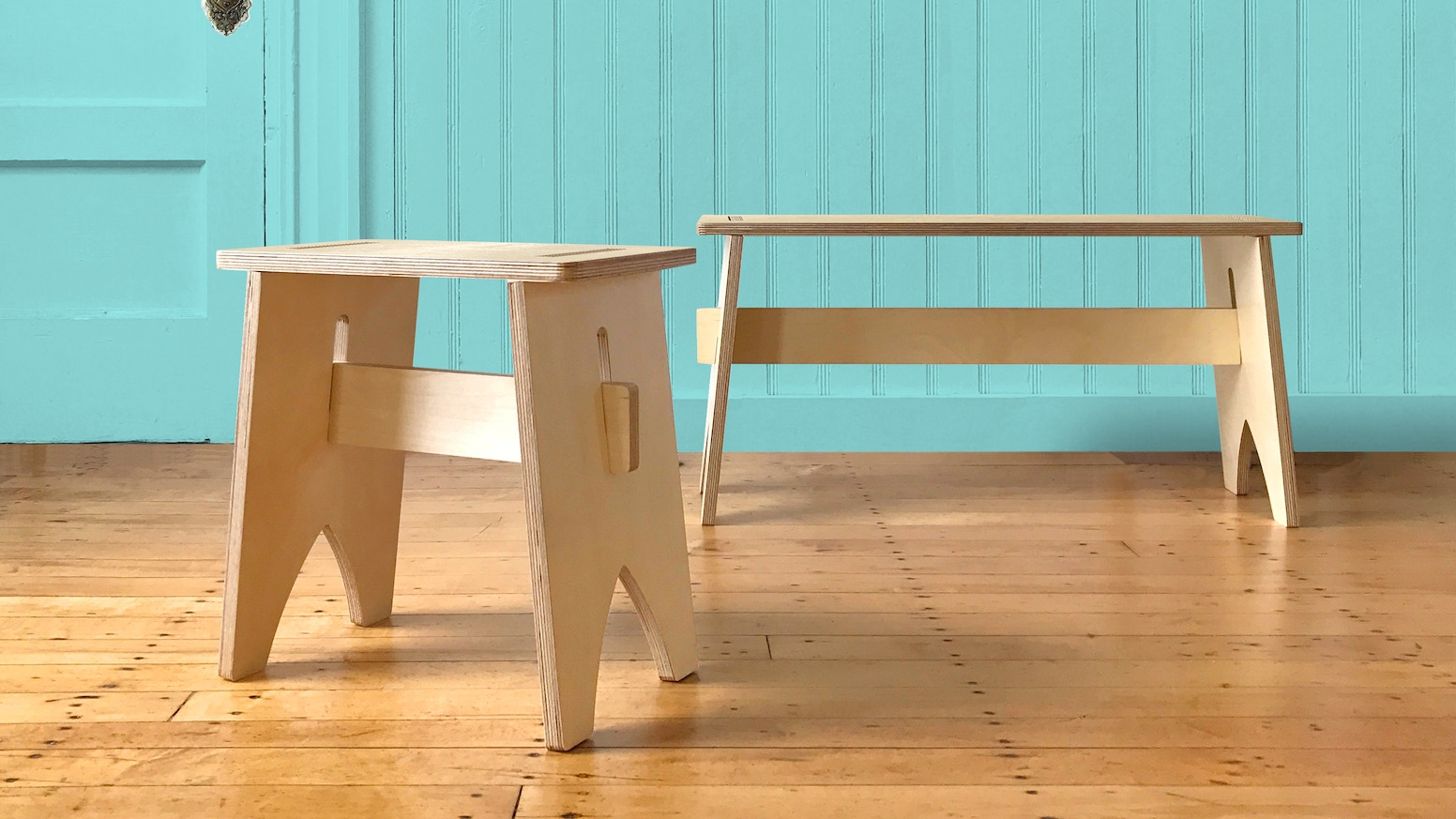 Baltic birch + no-tool assembly - there when you need it, away when you don't. A simple bench designed to encourage progress.