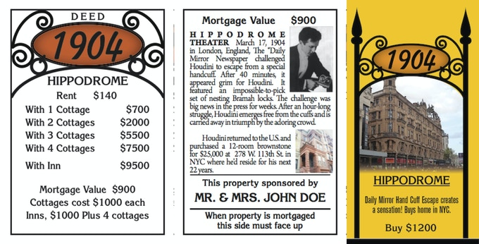Front & back of one deed card and how the property will look on the game board.  There are 23 property deeds, 4 Rail deeds along with several others. Click on above image for more info.