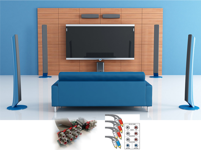 For a home theatre, plugin to your surround sound amplifier.