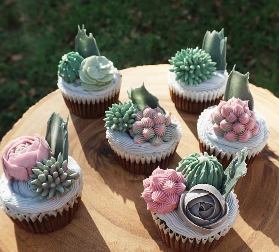 Succulent And Cactus Garden Cupcakes