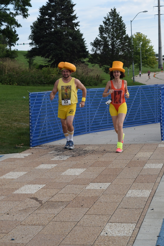 Two cheesey competitors at the Run for Cheese 5k