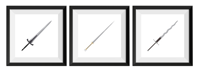 Examples of individually framed Greatsword Set prints