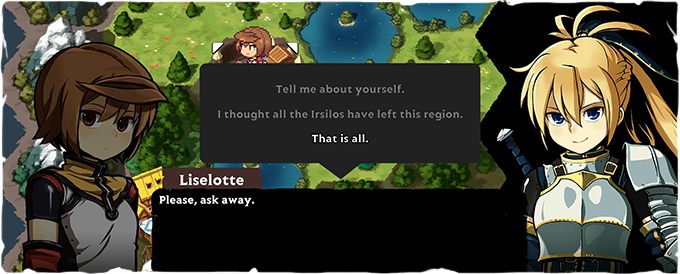 Talking to Liselotte, a knight gone rogue.