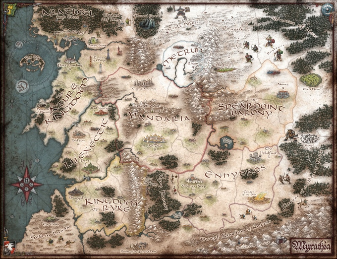 The map of Myrathia...you are going to need a bigger table