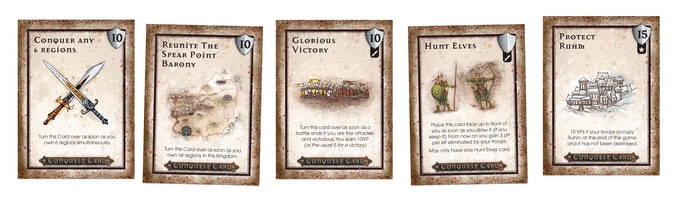 Conquest Cards - one of the ways to earn victory points in WarQuest