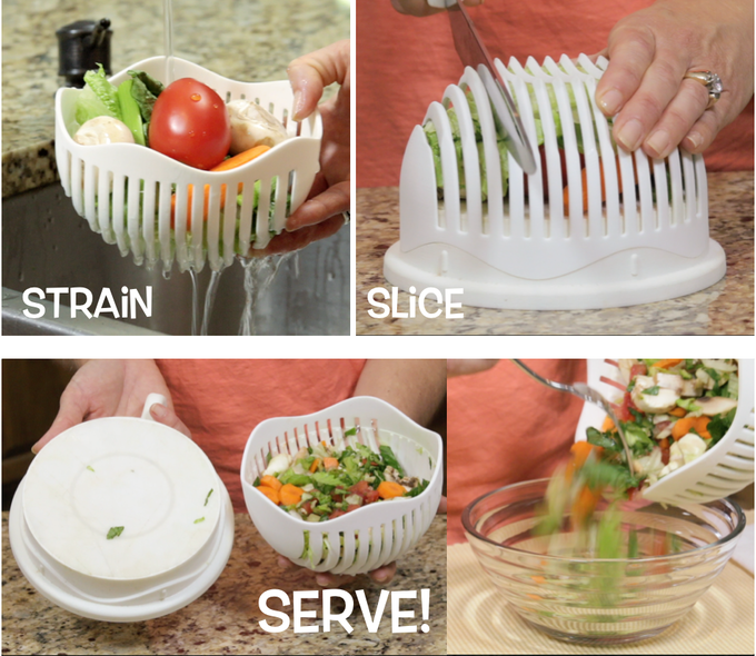 Straining, slicing and serving is a breeze with 60-Second Salad Maker!