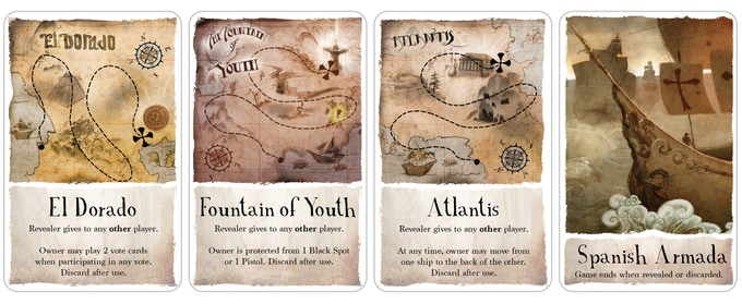 If you reveal one of the three treasure maps, you must give it to someone you trust. If you reveal the Spanish Armada, the game is over.