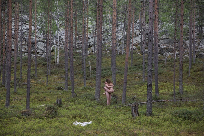 The last scene during 'The Forest Project' performance at Silence Festival. June 10, 2016. Lapland, Finland.