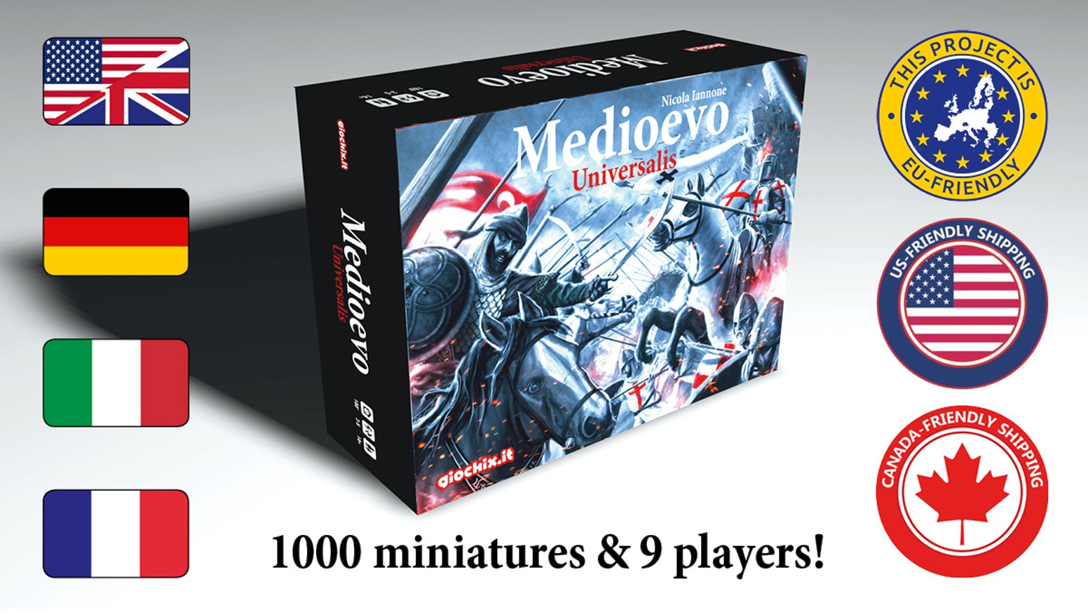 A great epic strategic game for 3-9 players with hundred army miniatures, lot of tokens and cards and a multi-level strategy