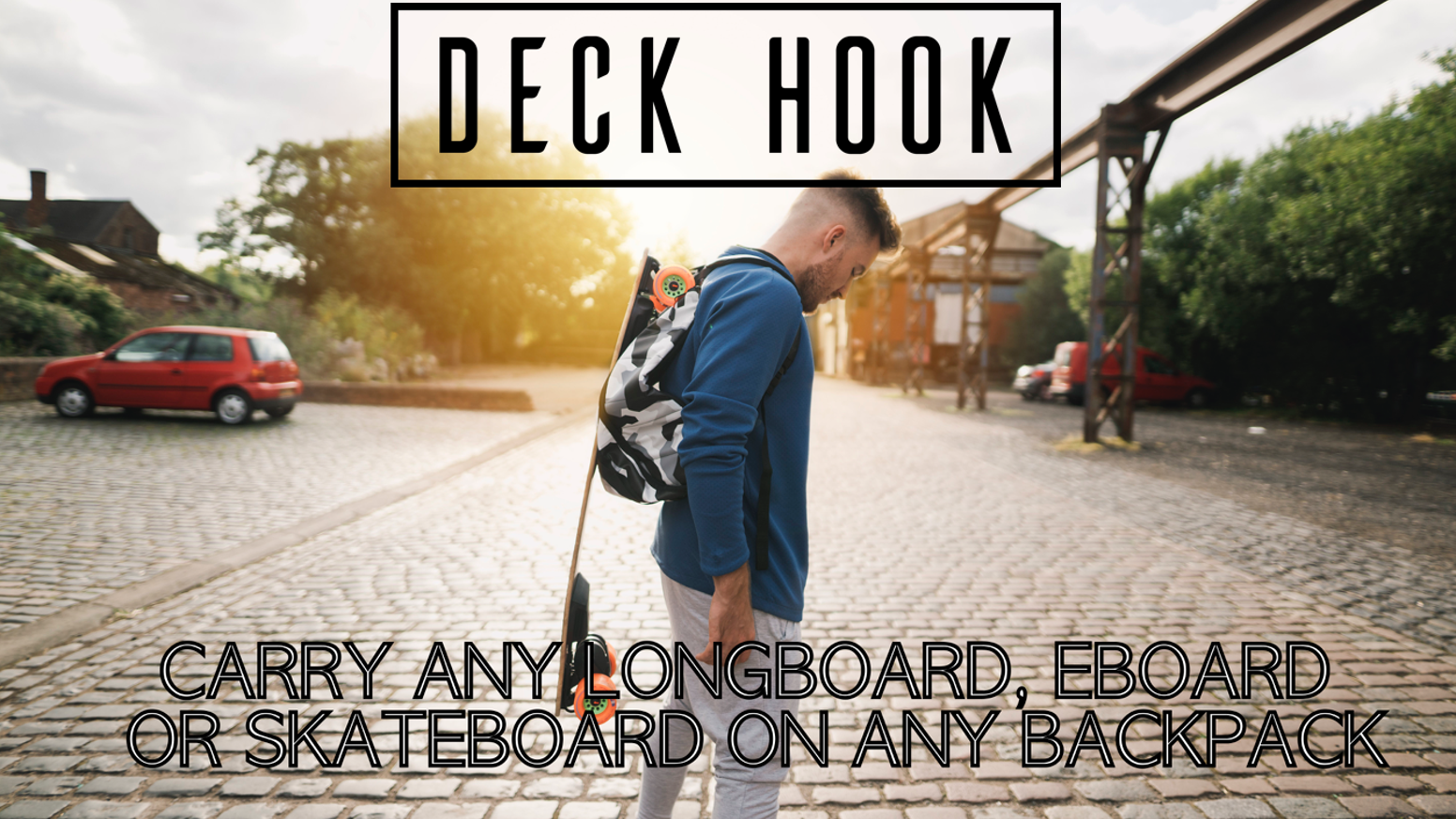 The Patent Pending Deck Hook clips on to any 2 strap backpack and can carry any longboard, skateboard or eboard.