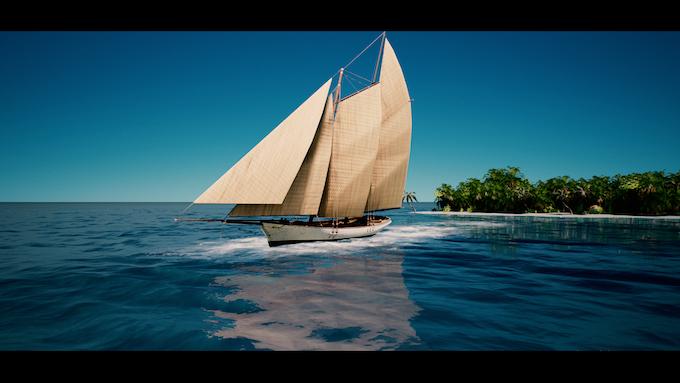 (In-game screenshot) A Level 2 schooner leaving an island