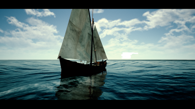 (In-Game Screenshot) A Level 1 ship (a tartane)