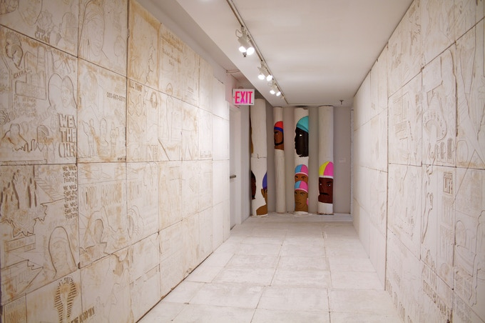 The hieroglyph structure's rooms will look similar to this presentation (covered walls and floors). kingdom splurge (3.7.15.15) 2015, The Studio Museum in Harlem. Photo: King Texas