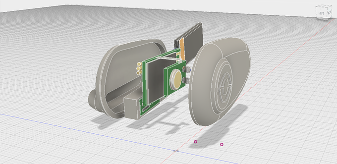 This is a 3D model of our production components, including the bluetooth chip, a LiPo battery, charging pins, capacitive touch sensor, and the bone conduction transducers