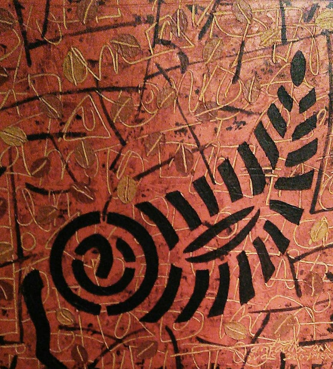 OLEO /ENCAUSTICA III 20 X 20 cm. Virgilio Santaella, Oaxaca