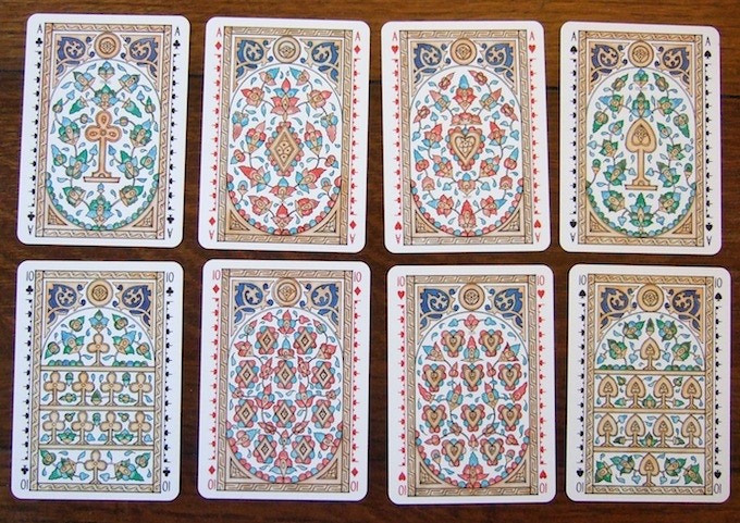 Clubs, diamonds, hearts, and spades in a Mamluk style