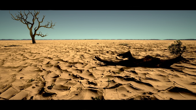 (In-game screenshot) A flat desert in the American West