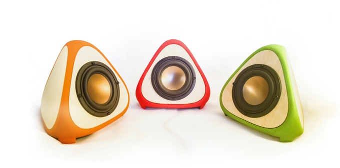 Family of T3TRA Speakers in Orange, Red and Green