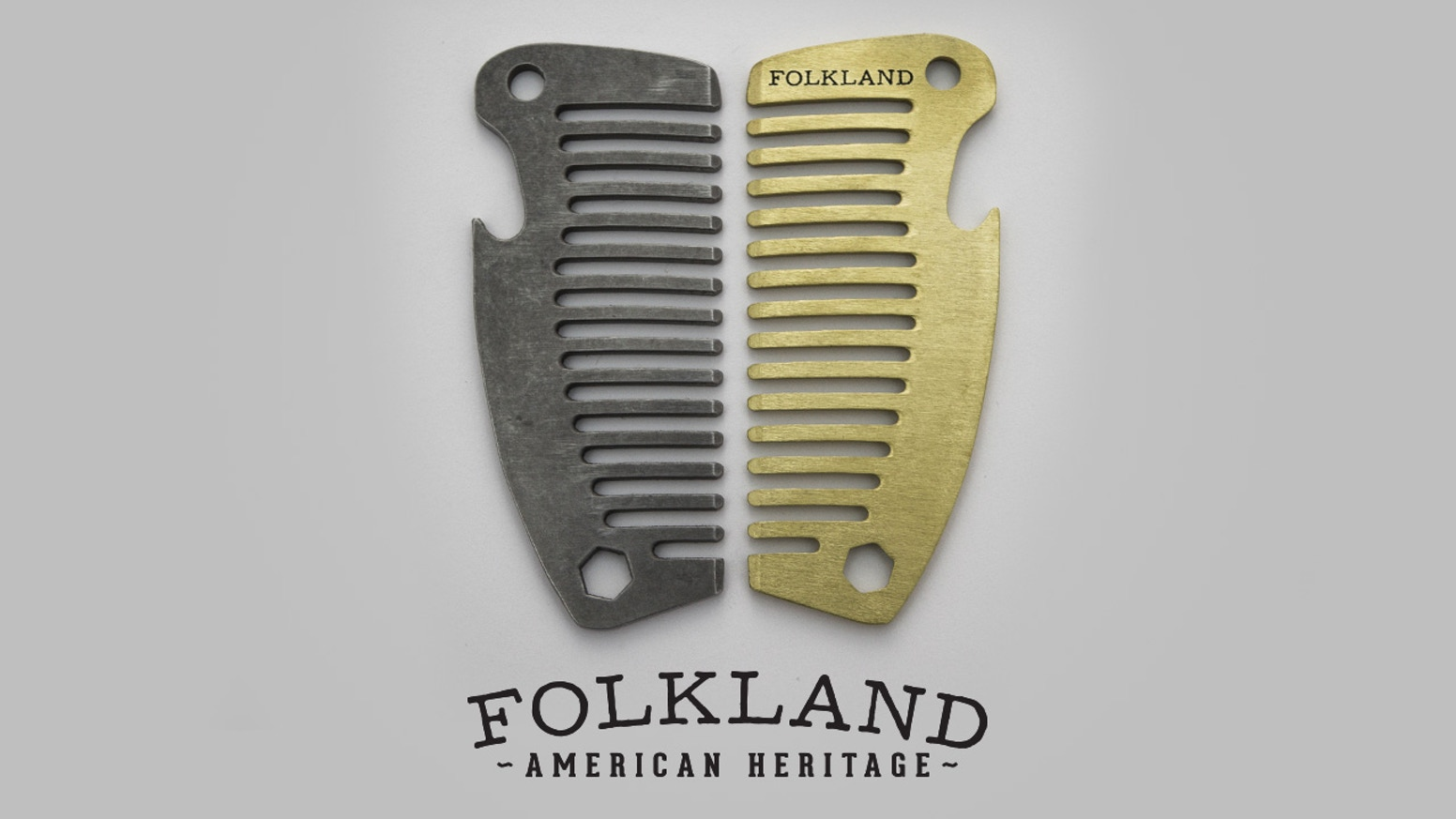 An everyday carry Pocket Comb from Folkland. Brass, Stainless and Ti. USA made compact durable combs will open bottles & look good!