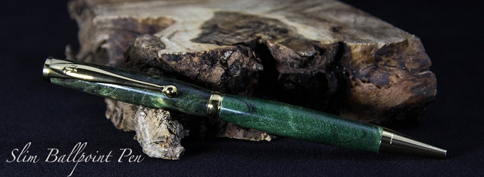 Shown in Green Dyed Box Elder Burl and Chrome