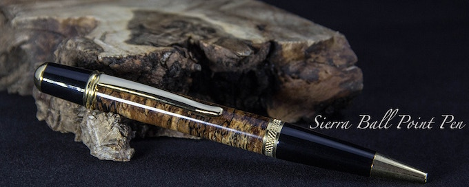 Shown in Spalted Beech and Gold