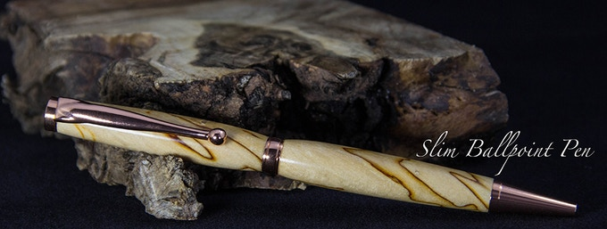Shown in Spalted Sweet Gum and Copper Components