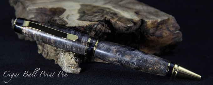 Shown in Grey Dyed Box Elder Burl and Gold