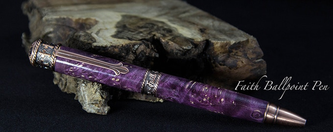 Shown in Purple Dyed Box Elder Burl and Antique Copper