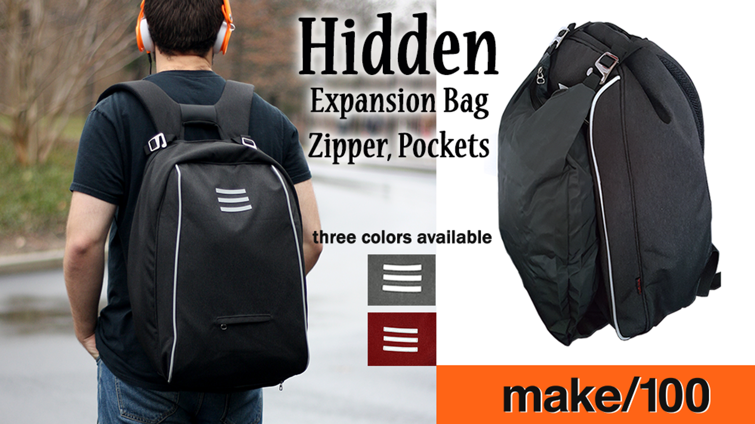 Anti-theft waterproof carry all for urban warriors. Hidden zipper and storage throughout. Pull out bag for extra room when needed.