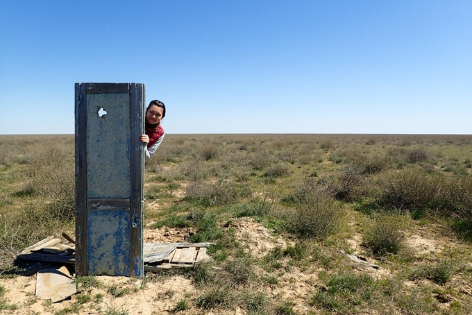 Albina Astafyeva and the blue door to infinite spaces. The steppes of Kazakhstan.
