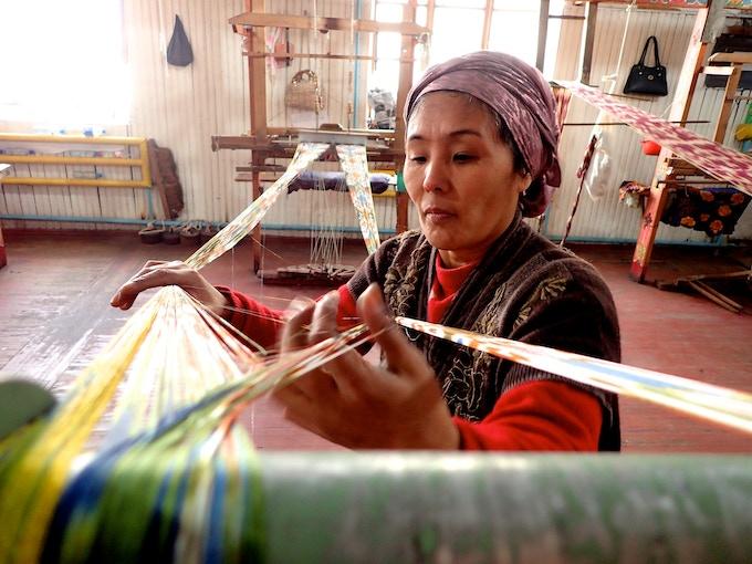 Traditional silk making in Margilan, Uzbekistan.