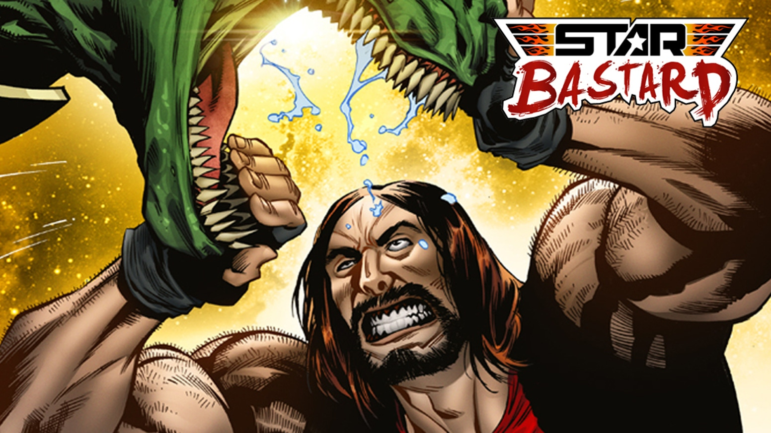 Ever wanted to see a man punch a talking dinosaur mercenary in the face? Heres your chance!