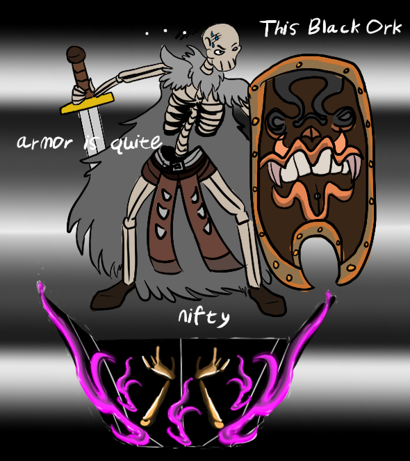 Heavy black orc armor on a tiny halfling skeleton!