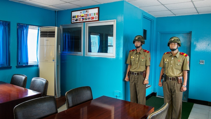 Deleted II. At the Joint Security Area, or JSA. The inner-Korean border goes straight through the table!