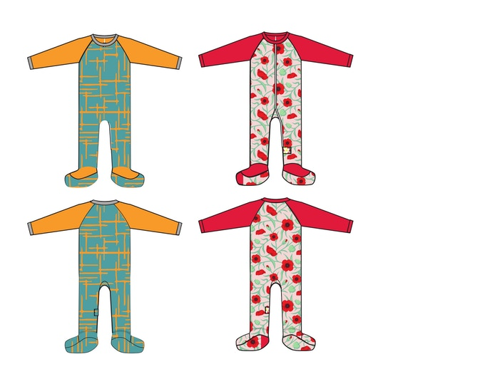 Colorblock Footies -Orange Crosschecks and Vintage Floral
