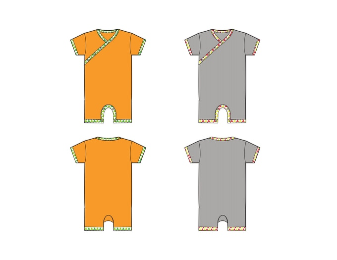 Solid Rompers -Creamsicle and Grey