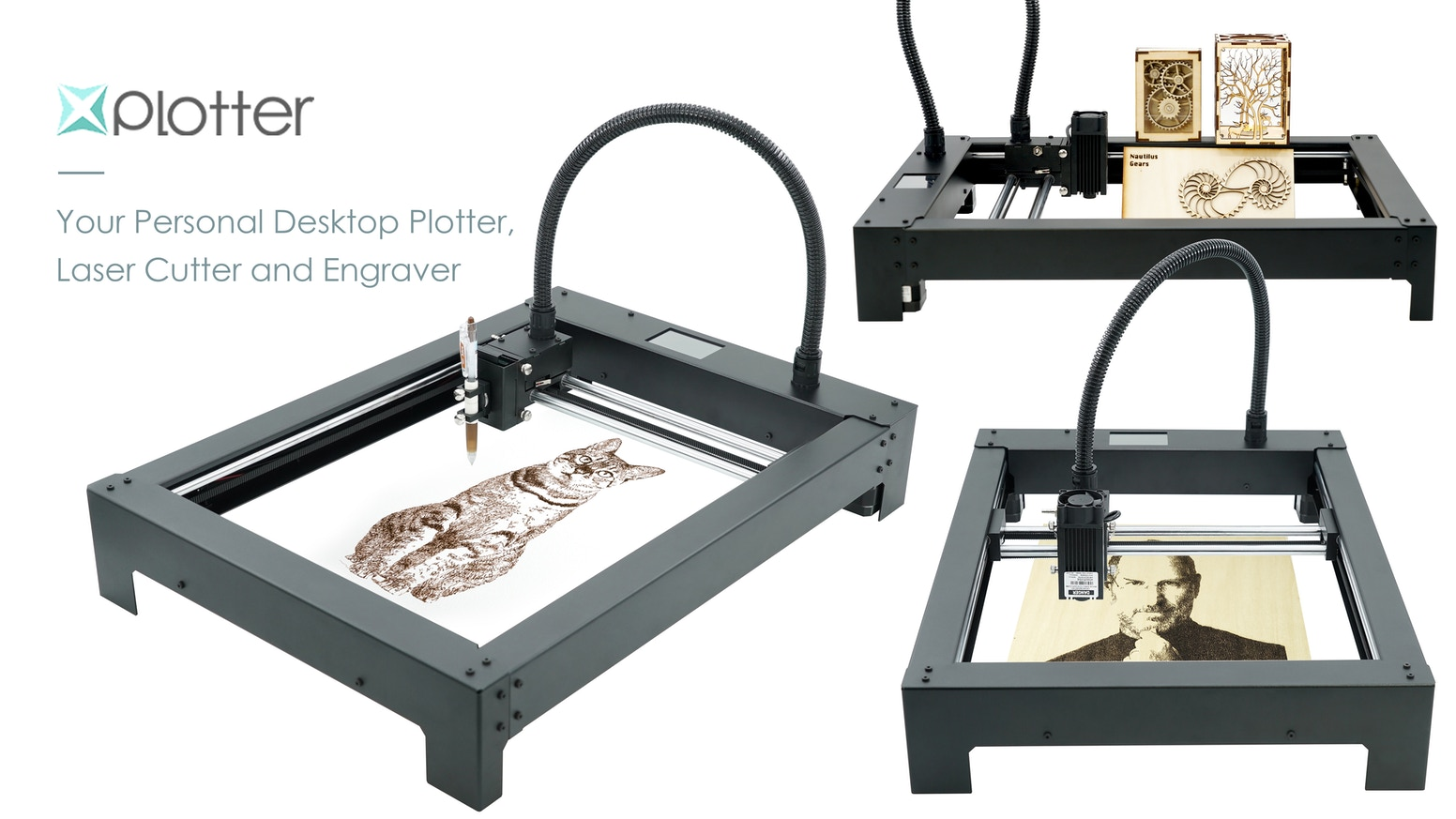 An affordable and easy to use desktop Plotter, Laser Cutter and Engraver.