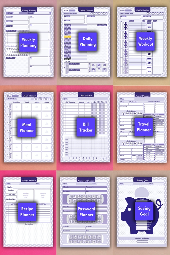 productive desk pad planners printable full collection by