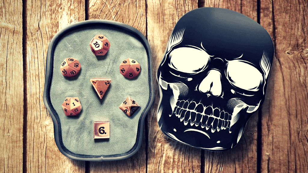 Rose Gold Metal Dice Sets With Skull Case project video thumbnail