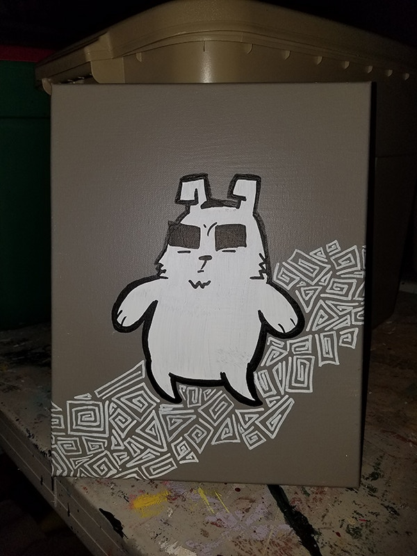 This is one of my stencil paintings, featuring a Fat Mammal.