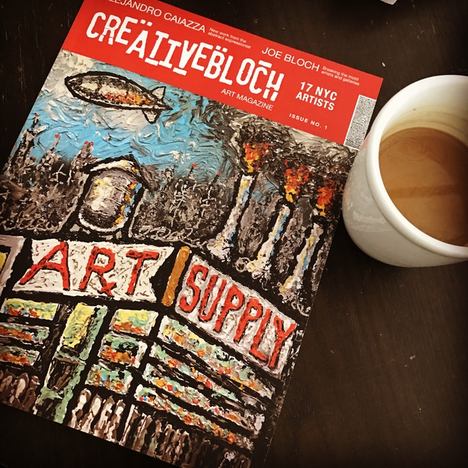 enjoy the art magazine with a cup of joe