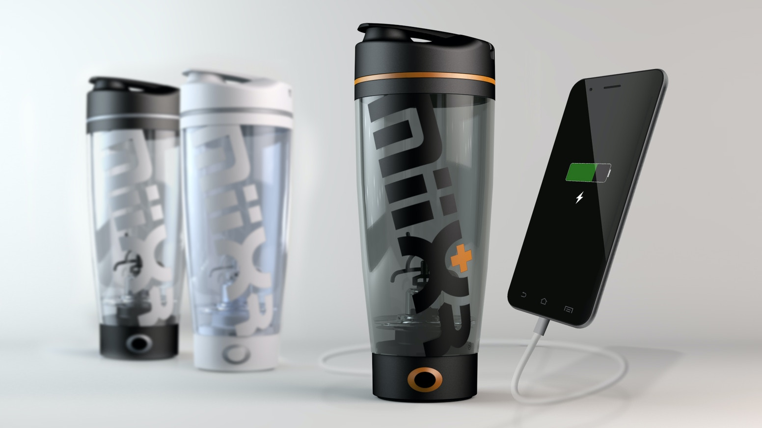 BLEND | DRINK | CHARGE | GO.  MiiXR is a beautifully designed Vortex Mixer that will charge your devices while you workout.