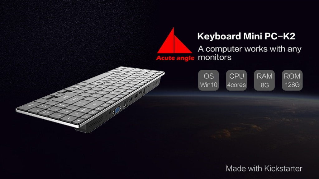 Keyboard Mini PC-K2:A computer works with any monitors