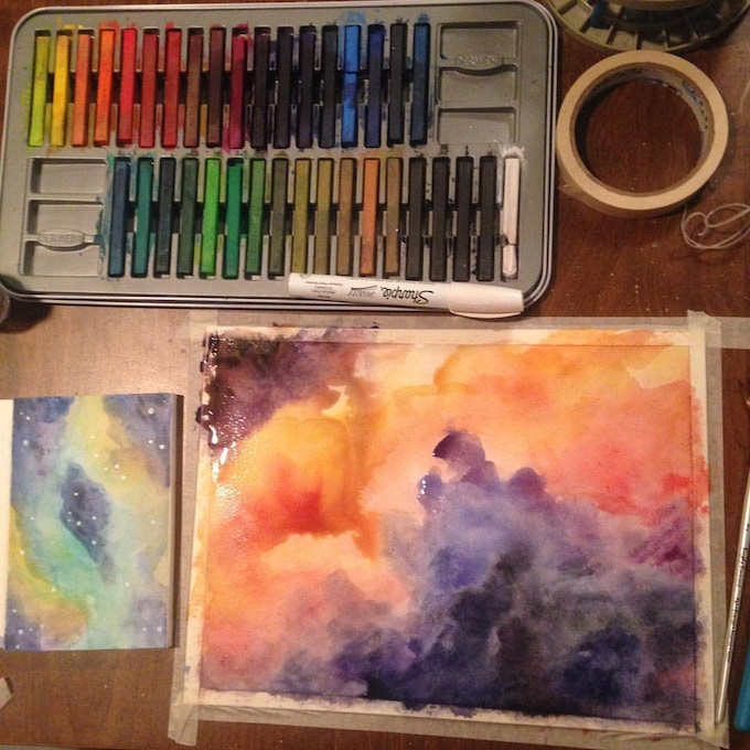 Part of the process of painting a nebula.