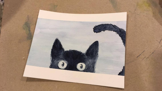 Watercolor cats are approximately 3.5x5""